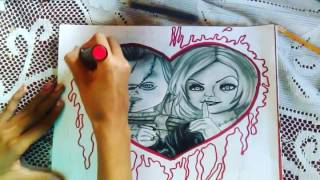 Drawing Chucky and Tiffany