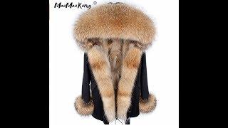 Зимняя женская куртка-пальто.Натуральный мех  Цена US $ 257.27