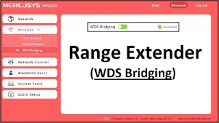 Mercusys Router Setup as Wireless Range Extender / Repeater (WDS Bridging)