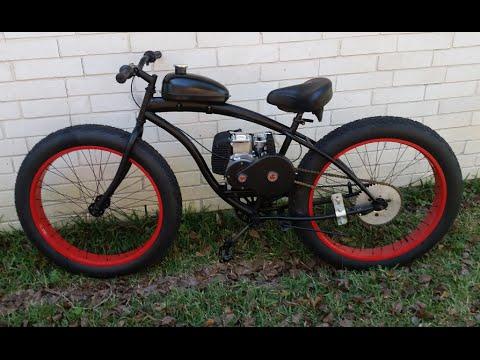 4 Stroke Fat Tire Sluggo Motorized Bicycle Youtube