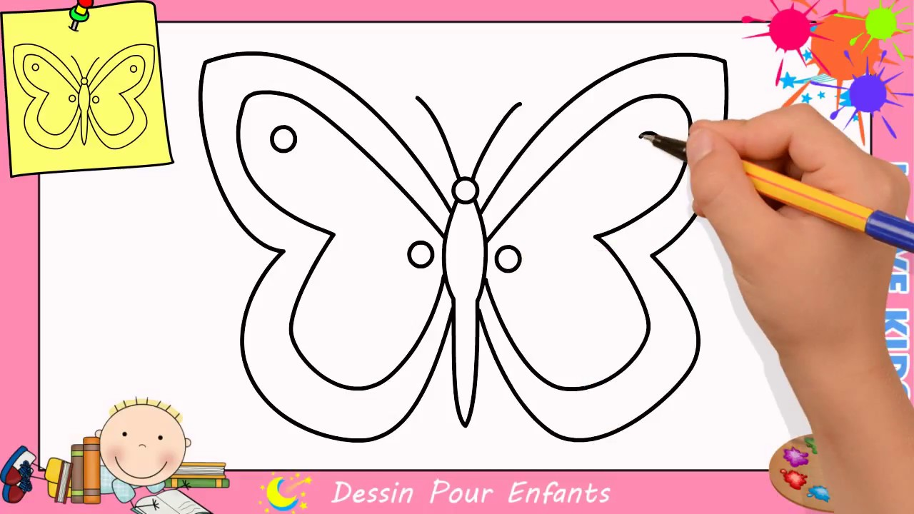 Comment dessiner un papillon facilement etape par etape pour enfants 6 youtube - Comment dessiner un enfant ...