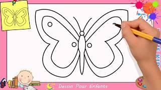 Comment dessiner un papillon FACILEMENT etape par etape pour ENFANTS 6
