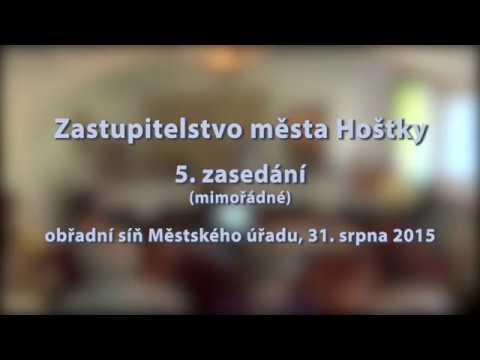 Zastupitelstvo města Hoštky - 5. zasedání, 31. 8. 2015