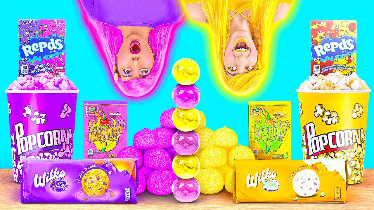 Download EATING ONLY ONE COLOR FOOD FOR 24 HRS! Last To STOP Wins! PURPLE VS YELLOW Food by 123 GO! CHALLENGE