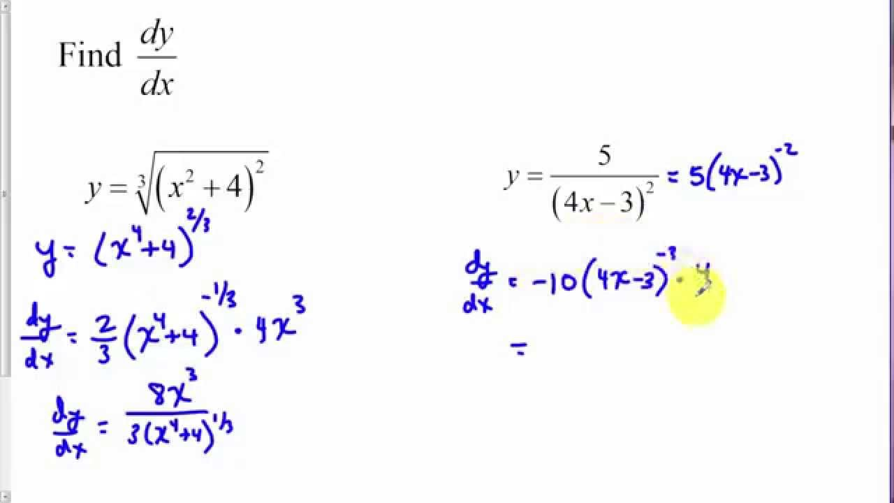 Calculus - Chain Rule (examples, solutions, videos)