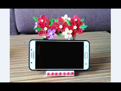 DIY Quilling hane phone holder// quilling flower hand phone holder // diy hand phone holder