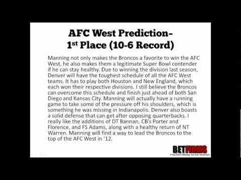 2012 Denver Broncos Football Predictions