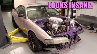S14 Gets BILLET Intercooler and Both Turbos Mounted!