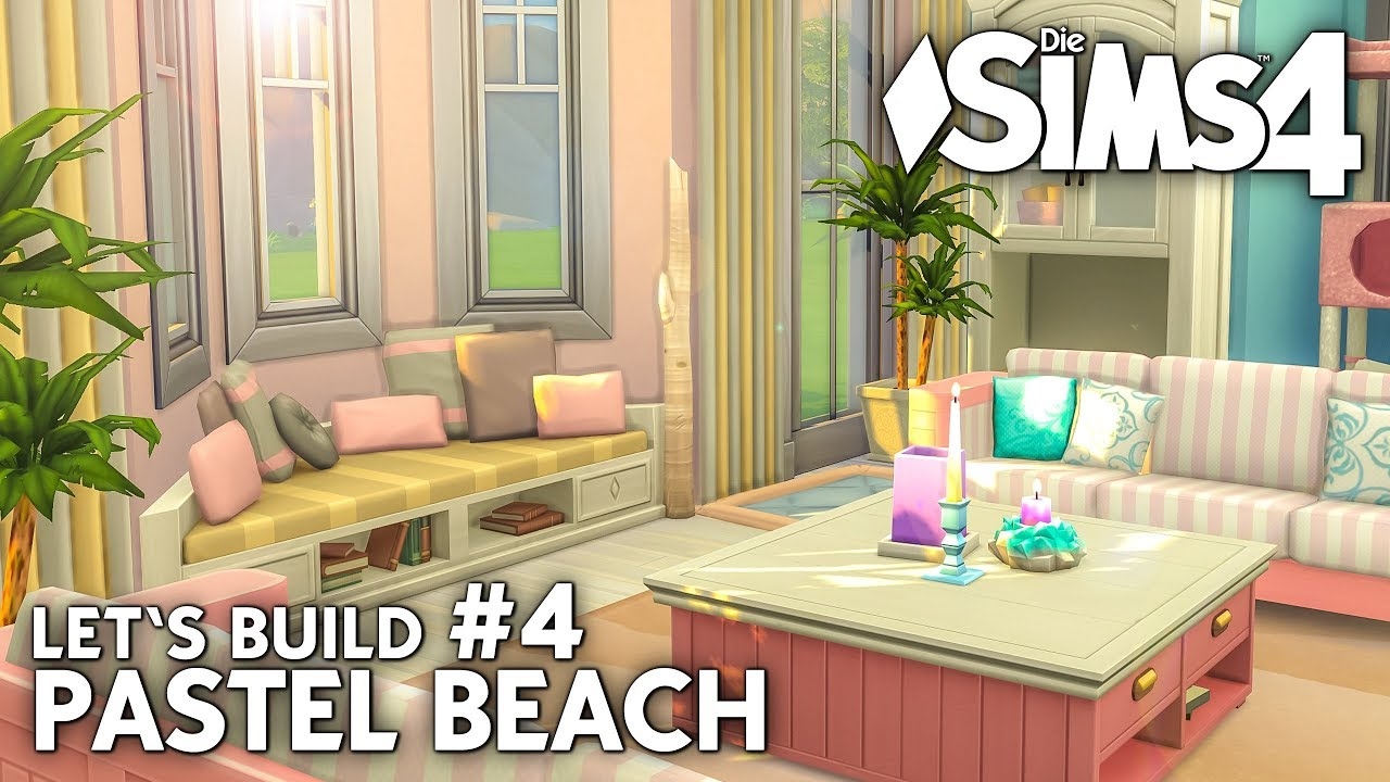 Die sims 4 haus bauen pastel beach #4: strandhaus wohnzimmer