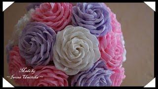 Цветы из гофрированной бумаги(Хотите сделать цветы их гофрированной бумаги? Предлагаю сделать красивые розы или даже букет роз! Как сдела..., 2014-08-03T13:23:16.000Z)