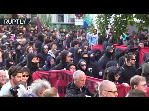 German anti-fascists clash with police during May Day Demo in Berlin