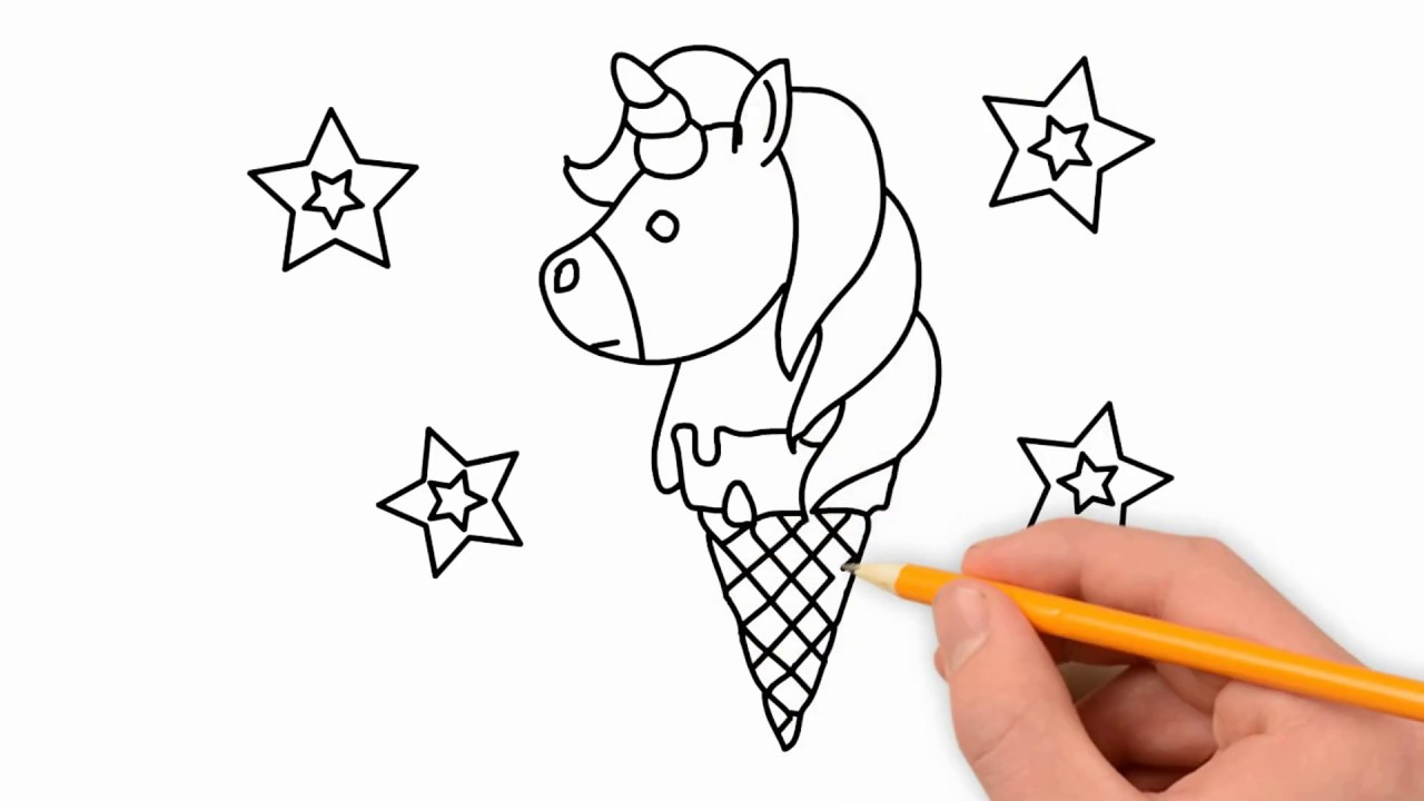 How to draw a unicorn ice cream cone step by step | ice ...