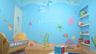 La Cameretta dei Bambini diventa un Mare - Parte 2: Applicare gli adesivi murali LeoStickers®