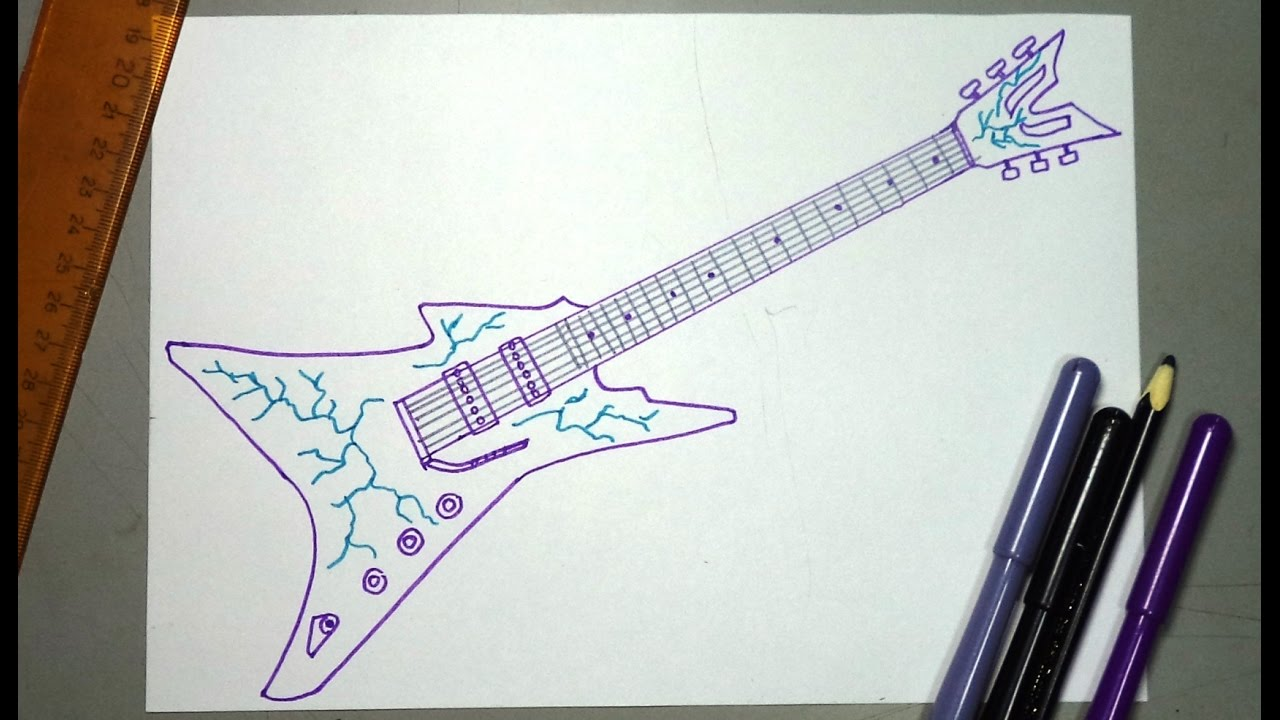 Cómo Dibujar Paso A Paso Una Guitarra Electrica Rock Youtube