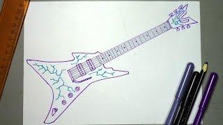Cómo dibujar paso a paso una guitarra electrica Rock