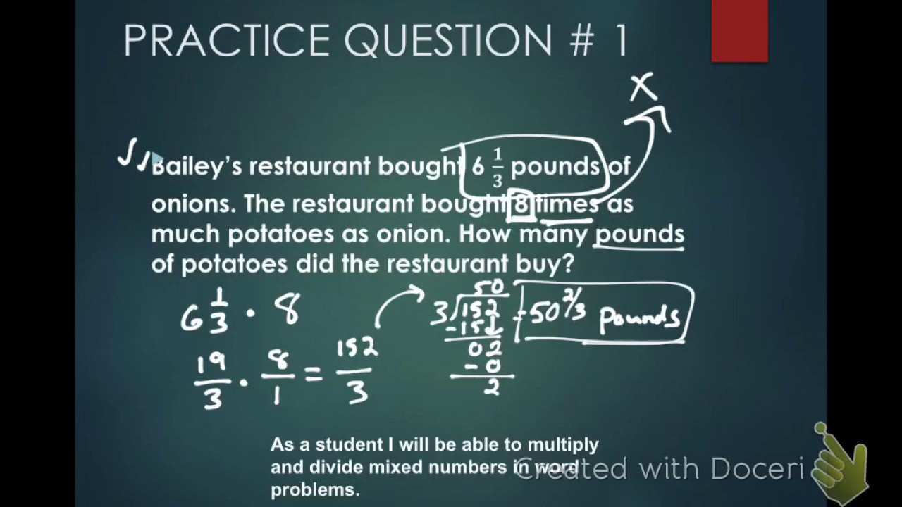 Multiplying and Dividing Fractions Word problems - YouTube