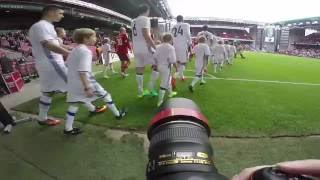 GoPro POV behind the scenes with football pographer at Danish Alka Superliga soccer match