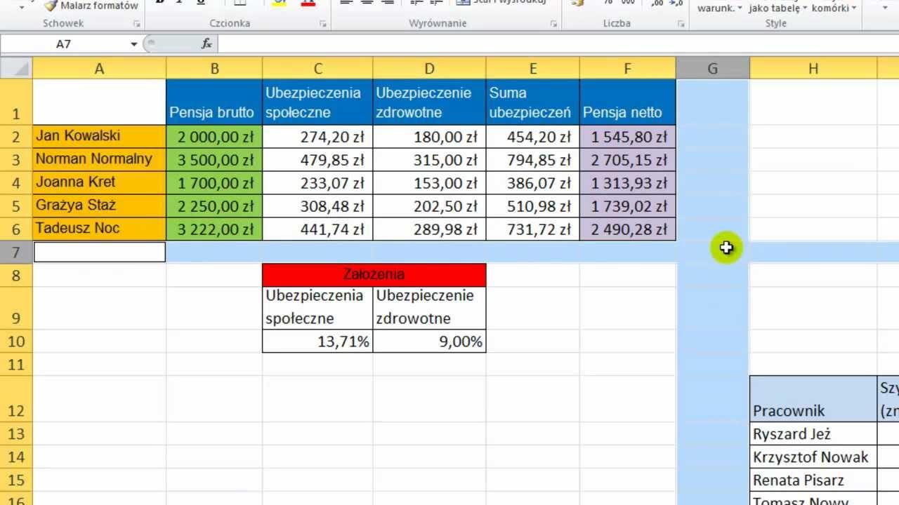Arkusz Kolumny Wiersze I Komórki Kurs Excel 2010 Odcinek 3