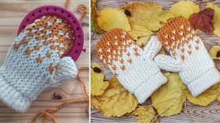HOW TO KNIT LITTLE HEARTS MITTENS ON ROUND LOOM