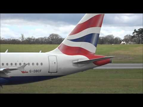 British Airways A319 take off at Birmingham Airport - 28th March 2016