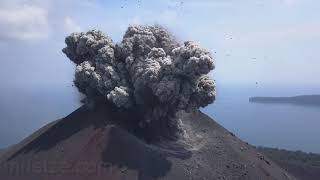 Krakatau volcano - spectacular explosions at day and night