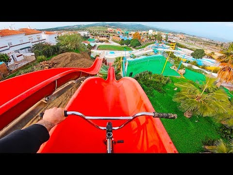 BMX RIDING: SNEAKING INTO INSANE WATERPARK!