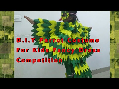 DIY Parrot Costume For Fancy Dress Competition.