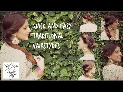 Easy Hairstyle For Salwar Suit : 2 quick & easy indian hairstyle for medium to long hair