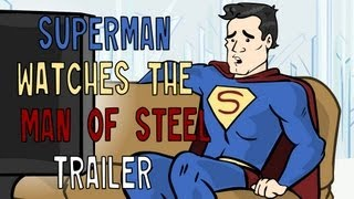 Superman watches the Man of Steel trailer