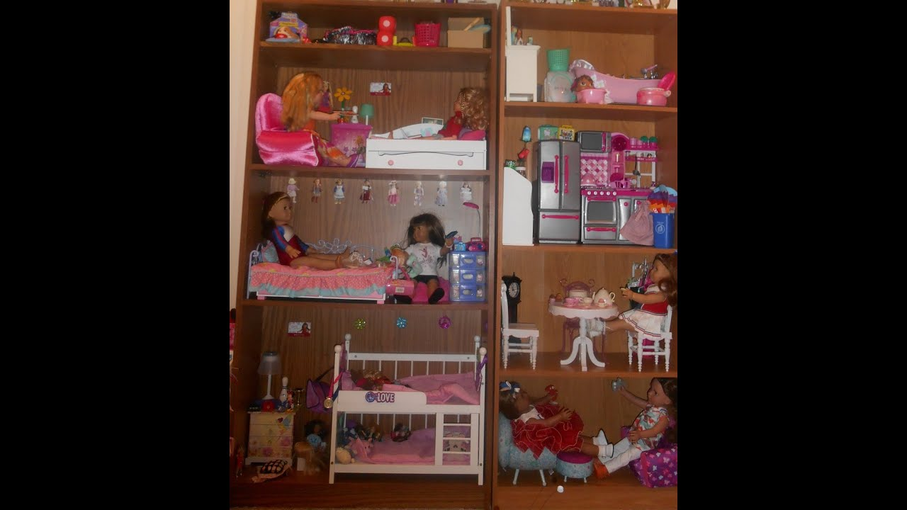 how-to turn a bookcase into american girl doll house! - youtube