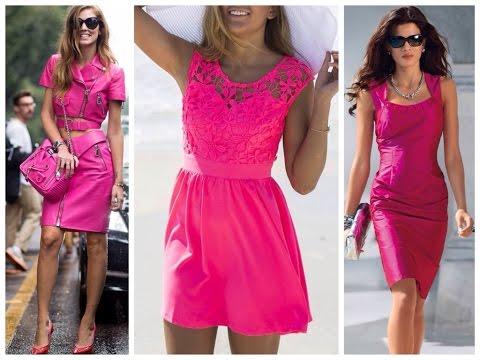 Платье цвета фуксии, с чем носить, с чем сочетать, фото.