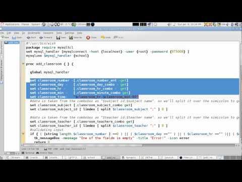 Tcl/Tk/MySQL Example:School Registration:Lesson7:Add Classroom. (English Version)