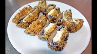 Crispy Mushrooms Cheddar Cheese Stuffed Pane Fried Recipe
