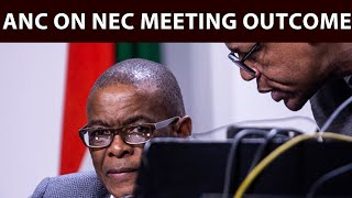 ANC secretary-general Ace Magashule and deputy secretary-general Jesse Duarte addressed media on the outcomes of the ruling party's recent NEC meeting, including Derek Hanekom, ANC youth league's disbandment and the SA Reserve Bank.