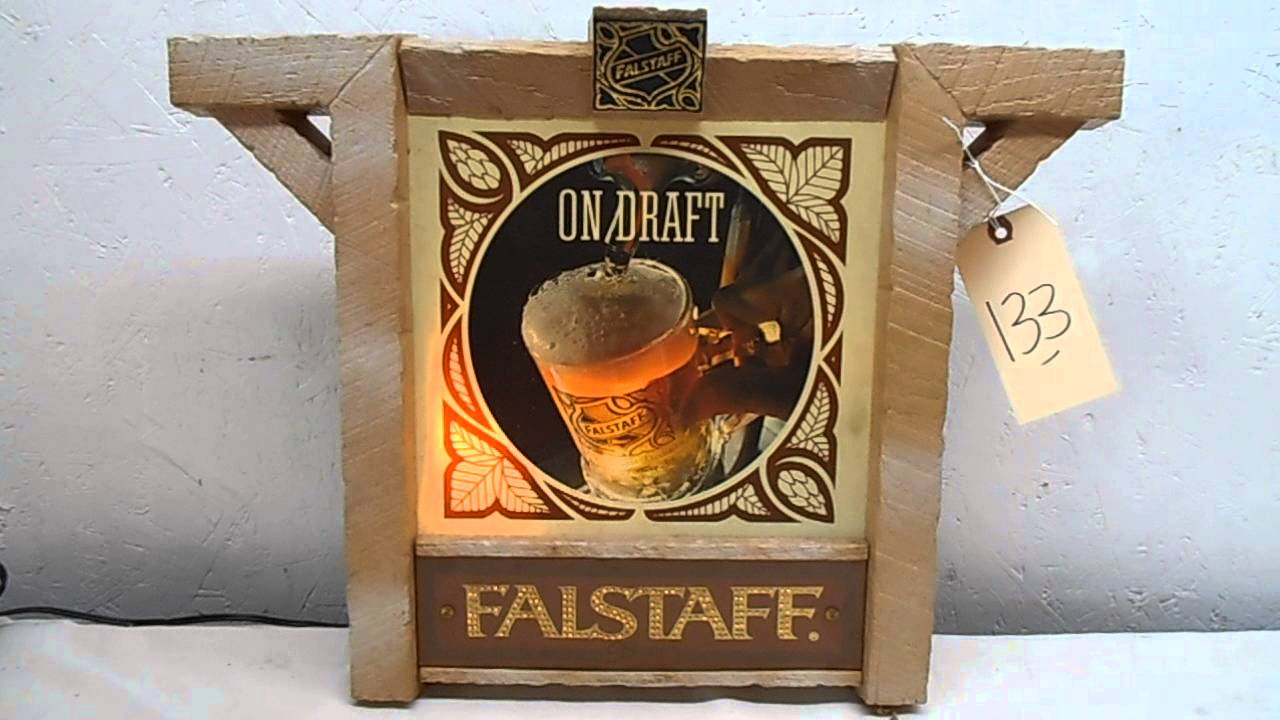 Lot 133 - FALSTAFF BEER Light Sign - YouTube