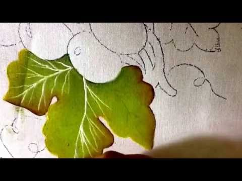 Pintura en tela hojas y uvas verdes con cony youtube - Pintar con acrilicos paso a paso ...