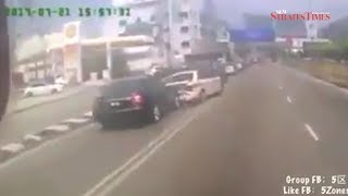 Mercedes rear-ends police patrol car in KL; 2 injured, video goes viral