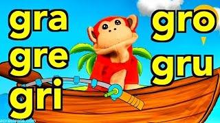 sílabas gra gre gri gro gru el mono sílabo videos infantiles educación para niños