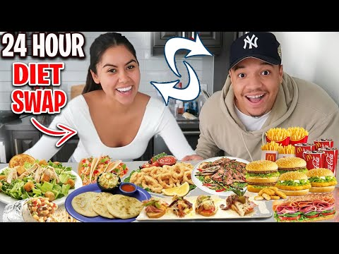 Swapping DIETS With My SPANISH Girlfriend For 24 Hours!!