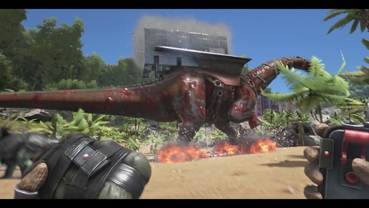 ark survival evolved killing bronto platform saddle youtube