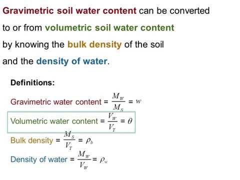 Relating Volumetric and Gravimetric Soil Water Contents