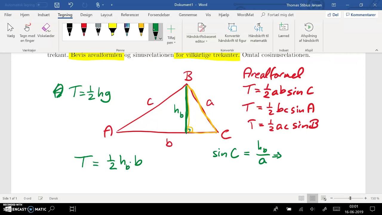 spg 7 - del 3: arealformel for vilkårlige trekanter - bevis