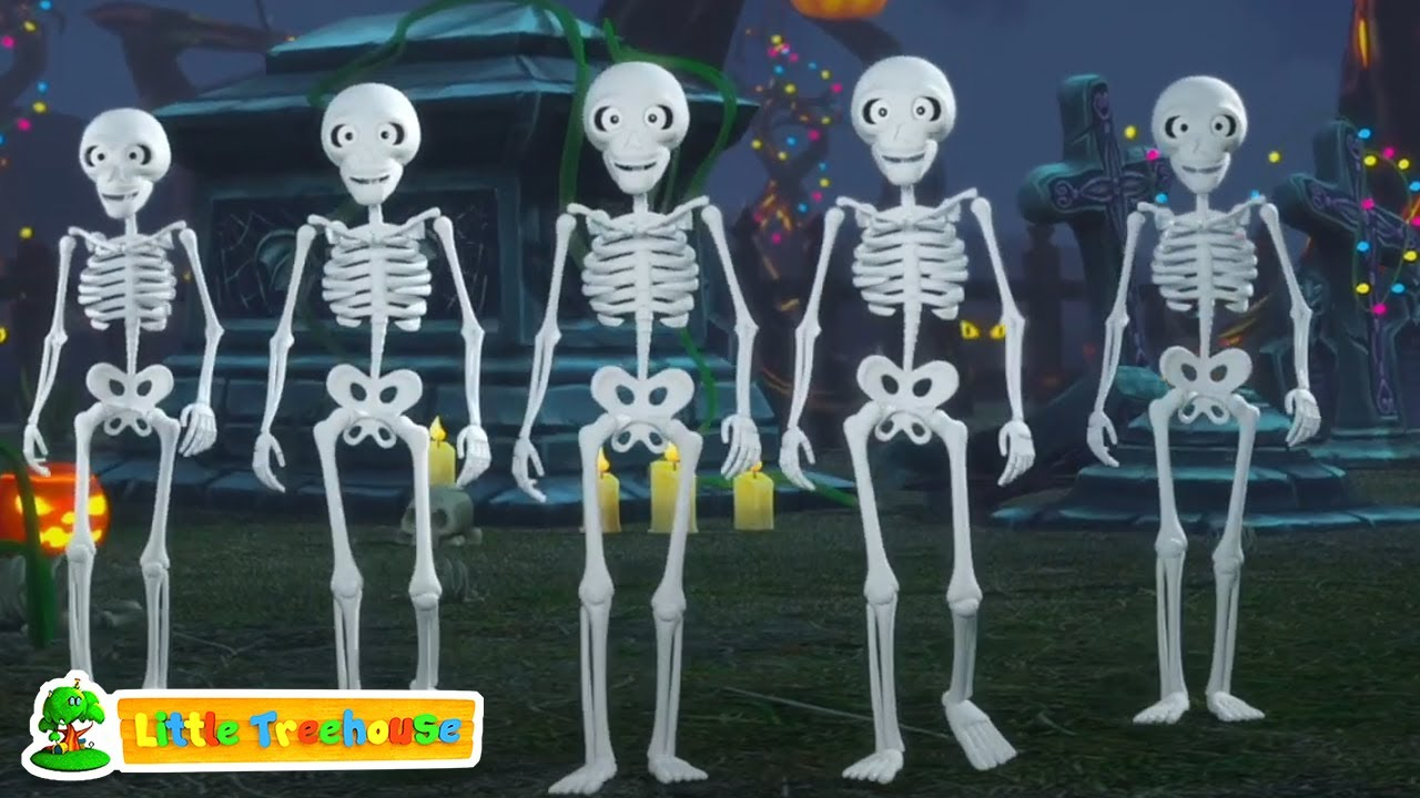 Cinco pequeños esqueletos | Canciones infantiles | Dibujos animados de halloween | Musica para bebes