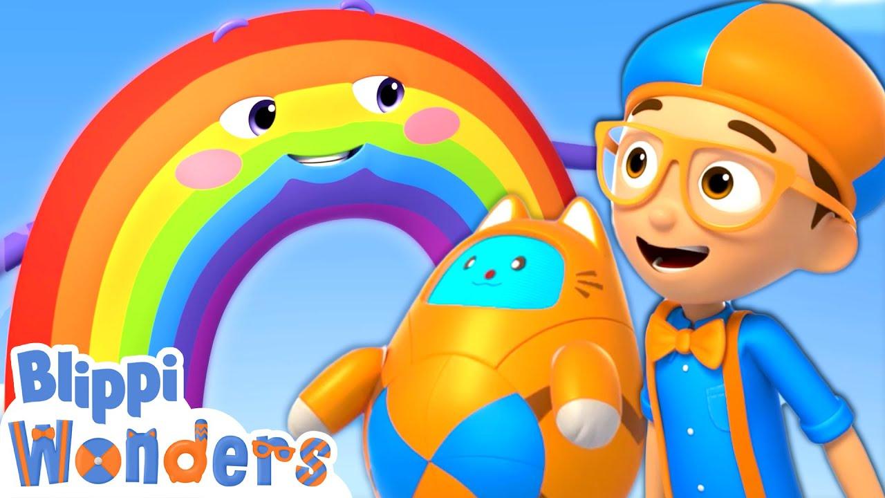 Blippi Learns Rainbow Colors! | Blippi Wonders | Animated Series | Cartoons For Kids