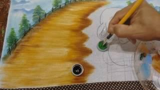 Roberto Ferreira- Pintura Motivo Páscoa ( Paisagem e Coelho ) Parte 1