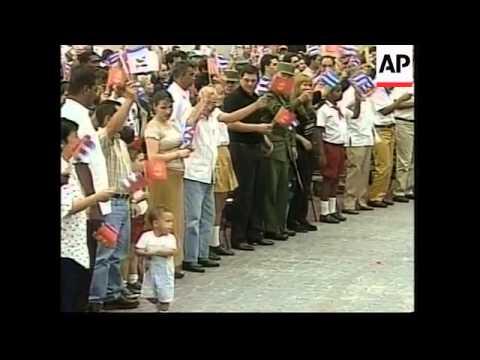Castro meets Elian Gonzalez at children's rally.