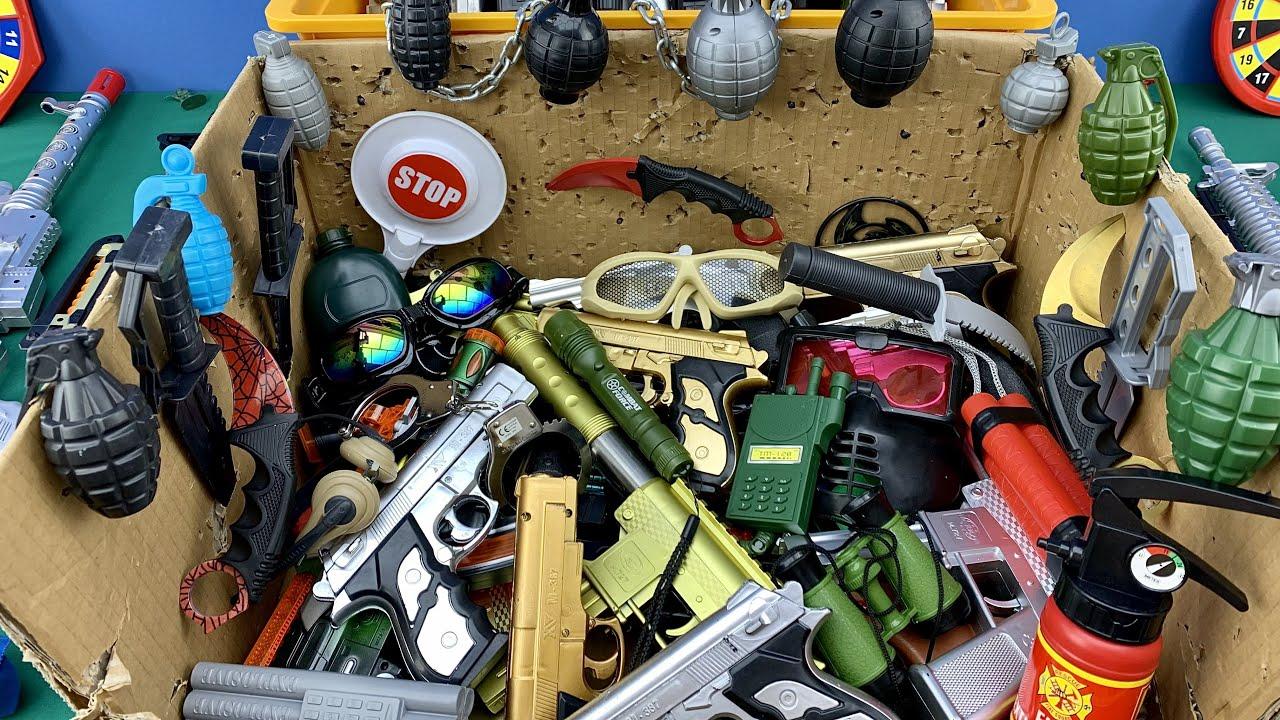 Vampire Weapon Box! Explosives and Dangerous Toy Guns - Sharp Karambit Blades - Box of Toy Guns