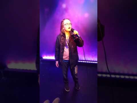 Emma on karaoke at Blackpool wax works