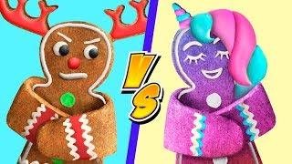 9가지 재밌는 크리스마스 간식 아이디어 / 유니콘의 크리스마스 사탕 VS 사슴의 크리스마스 사탕 챌린지!