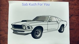 #8 How to Draw Muscle car  1969 Ford Mustang Boss 429  Step by step easily 😊